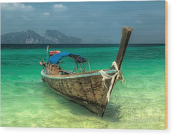Thai Boat  Wood Print by Adrian Evans