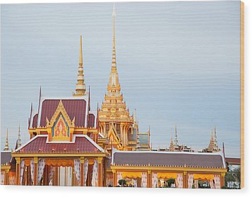 Thai Construction Design. Wood Print by Vachiraphan Phangphan