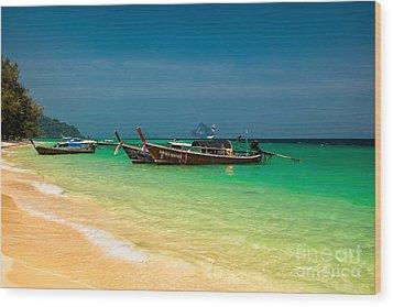 Thai Longboats Wood Print by Adrian Evans