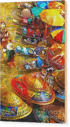 Thai Market Day Wood Print by Mo T