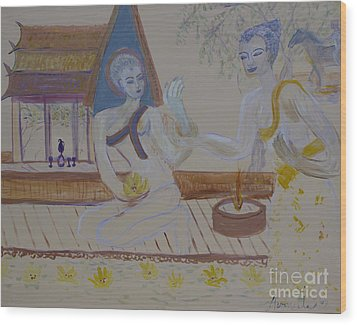 Wood Print featuring the painting Thailand by Avonelle Kelsey