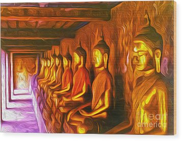 Thailand Buddhas Wood Print by Gregory Dyer