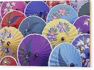 Thailand. Chiang Mai Region. Umbrellas Wood Print by Anonymous