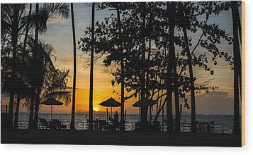 Thailand Sunset Wood Print by Mike Lee