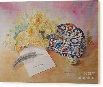 Wood Print featuring the painting Thank You From Beatrice by Beatrice Cloake