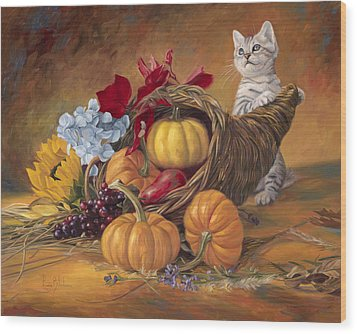 Thankful Wood Print by Lucie Bilodeau