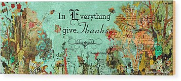 Thanksgiving Autumn Themed Inspirational Plaque Wood Print by Janelle Nichol