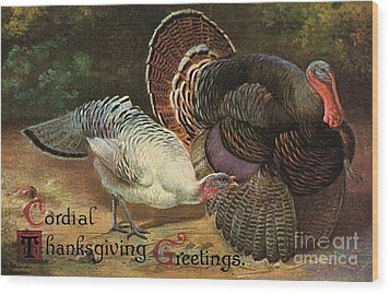 Thanksgiving Greetings Wood Print by American School