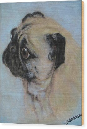 Pug's Worried Look Wood Print