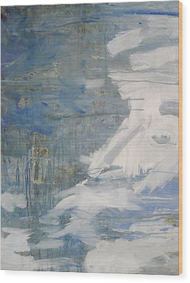 Wood Print featuring the painting Thaw Water Ice Abstraction by John Fish