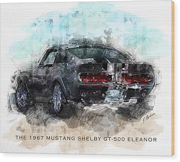 The 1967 Shelby Gt-500 Eleanor Wood Print by Gary Bodnar