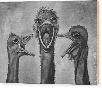 The 3 Tenors Bw Wood Print by Leah Saulnier The Painting Maniac