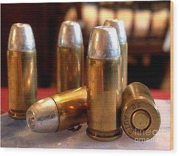 Bullet Art 32 Caliber Hollow Point Bullet 1 Wood Print by Lesa Fine