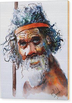 The Aborigine Wood Print by Steven Ponsford