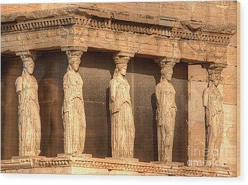 The Acropolis Caryatids Wood Print by Deborah Smolinske