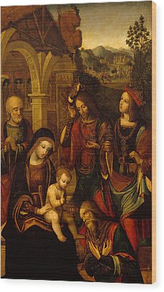 The Adoration Of The Kings Wood Print by Neapolitan School