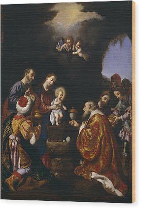 The Adoration Of The Magi Wood Print by Carlo Dolci