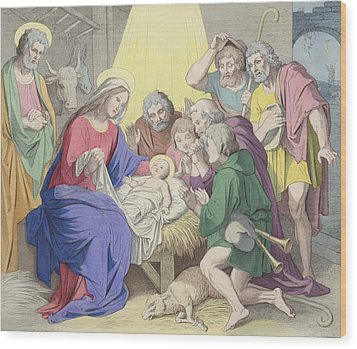 The Adoration Of The Shepherds Wood Print by German School