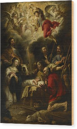 The Adoration Of The Shepherds Wood Print by Jan Cossiers