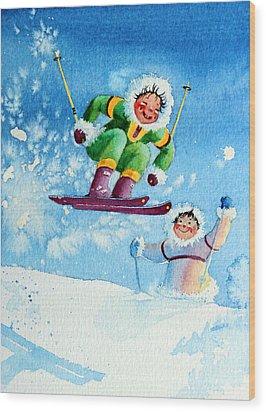 The Aerial Skier - 10 Wood Print by Hanne Lore Koehler