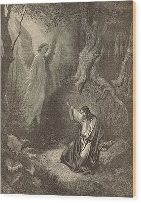 The Agony In The Garden Wood Print by Antique Engravings