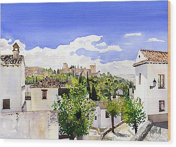 The Alhambra From The Albaicin Wood Print by Margaret Merry