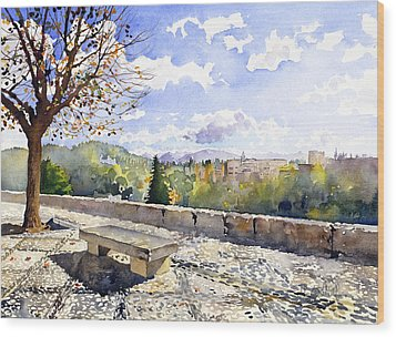 The Alhambra In Autumn Wood Print by Margaret Merry