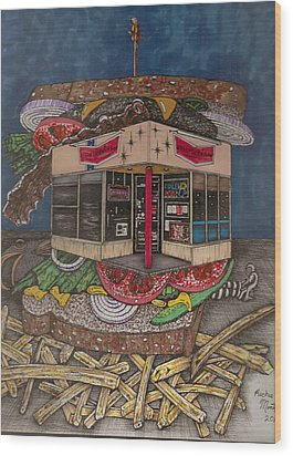 Wood Print featuring the painting The All Star Sandwich Bar by Richie Montgomery