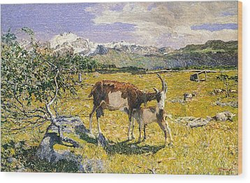 The Alps In May Wood Print by Giovanni Segantini