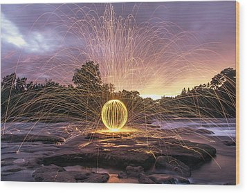 The American River Orb Wood Print by Lee Harland