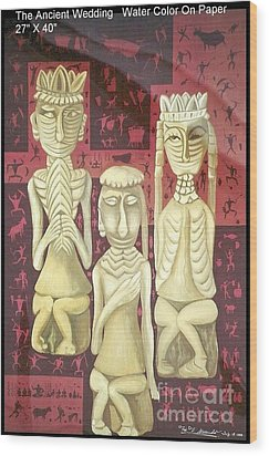 Wood Print featuring the painting The Ancient Wedding by Fei A