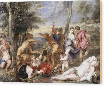 The Andrians A Free Copy After Titian Wood Print by Peter Paul Rubens