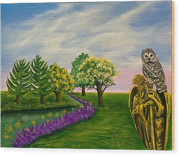 The Angel And The Owl Wood Print by Susan Culver