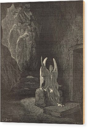 The Angel At The Sepulchre Wood Print by Antique Engravings