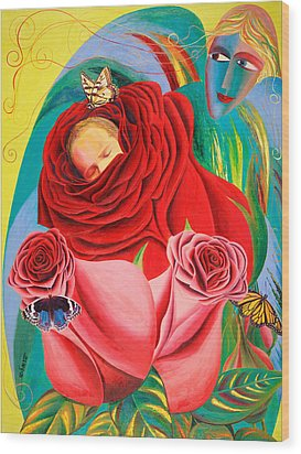 The Angel Of Roses Wood Print by Israel Tsvaygenbaum