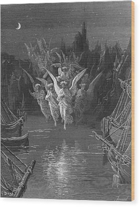 The Angelic Spirits Leave The Dead Bodies And Appear In Their Own Forms Of Light Wood Print by Gustave Dore