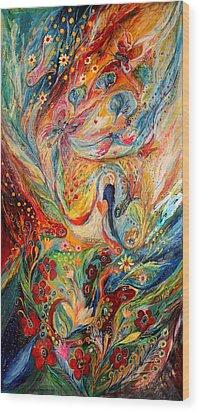 The Angels On Wedding Triptych - Center Wood Print by Elena Kotliarker