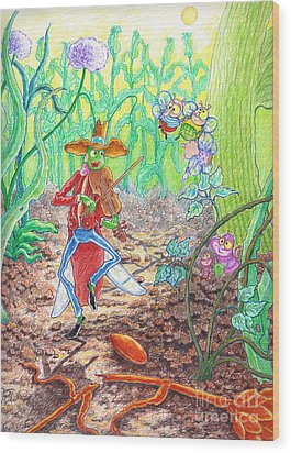 The Ant And The Grasshopper Wood Print by Teodora Reytor