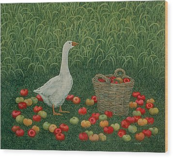 The Apple Basket Wood Print by Ditz