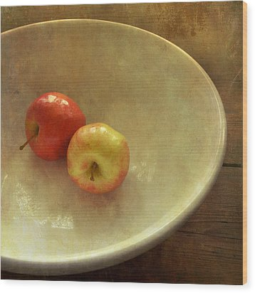 The Apple Bowl Wood Print by Sally Banfill