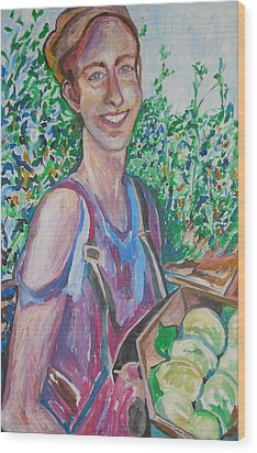The Apple Picker Wood Print by Esther Newman-Cohen