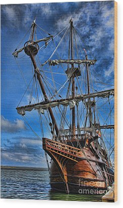 The Approaching Storm - Spanish Galleon Wood Print by Lee Dos Santos
