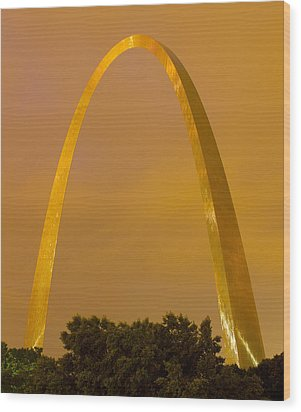 The Arch In The Glow Of St Louis City Lights At Night Wood Print