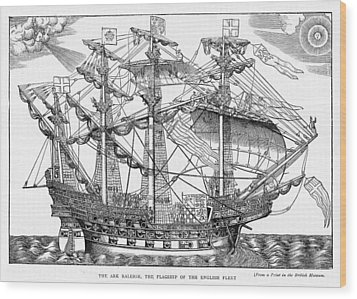 The Ark Raleigh The Flagship Of The English Fleet From Leisure Hour Wood Print by English School