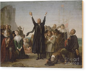 The Arrival Of The Pilgrim Fathers Wood Print by Antonio Gisbert