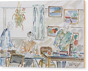 The Art Club Wood Print by Phong Trinh
