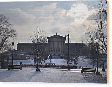 The Art Museum In The Snow Wood Print by Bill Cannon