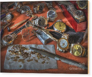 The Art Of The Timepiece - Watchmaker  Wood Print by Lee Dos Santos