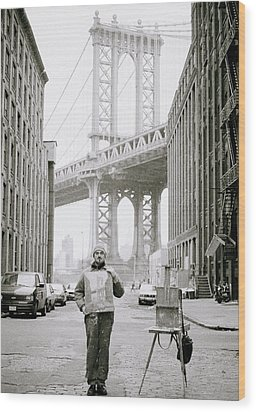 The Artist In New York Wood Print by Shaun Higson
