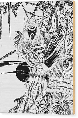 Wood Print featuring the digital art The Assassin Invert by Justin Moore